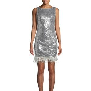Cocktail Dress Silver Metallic sequin feather